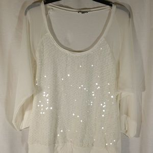 Express L White Top Sequined Sheer Arms
